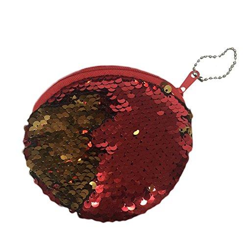 10 nbsp;pieza Bolsa Almacenamiento Set 1 Elegante Rojo Cm Fansi Rojo Lentejuelas Sirena Bolso Modo Redondo Y De Simple 5qHZ77xvw