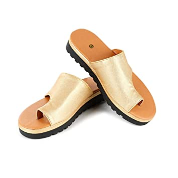 Women Comfy Platform Sandal Shoes, PU Leather Wedge Heel Sandals with Arch Support, Open