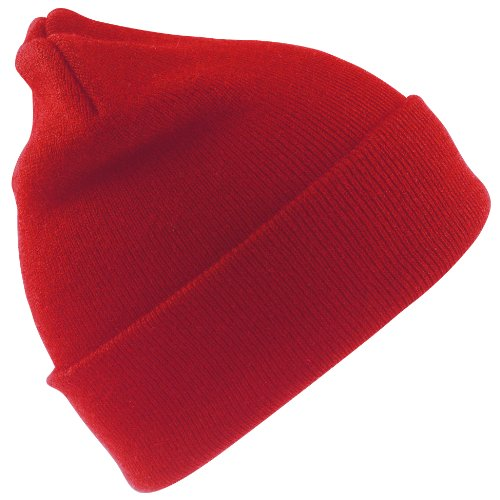 Heavyweight Knit Cap - Result Wooly Heavyweight Knit Thermal Winter/Ski Hat (One Size) (Red)