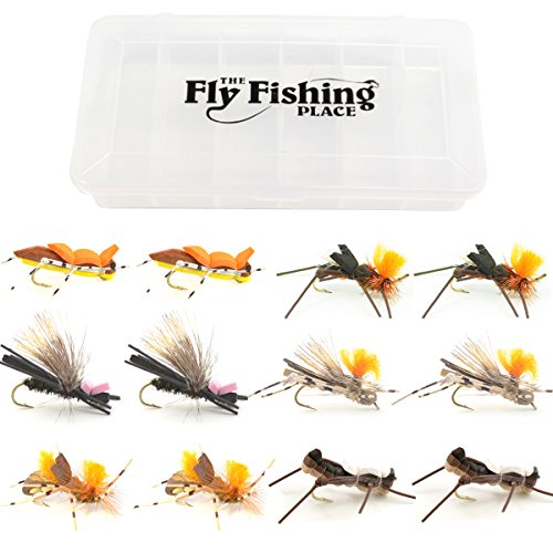 Big Hopper - The Fly Fishing Place Big River Foam Hopper Fly Fishing Flies Assortment - 12 Flies - 2 Each of 6 Trout or Bass Flies with Fly Box