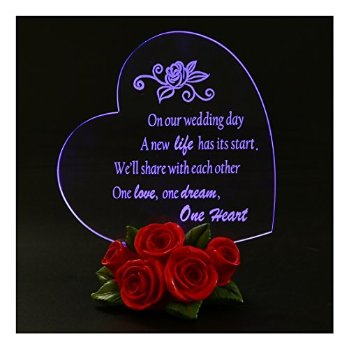 Giftgarden LED Decor Sweet Heart with Rose Wedding Gift, Wedding Cake Topper,Wedding Souvenirs (Mothers Day Cake)