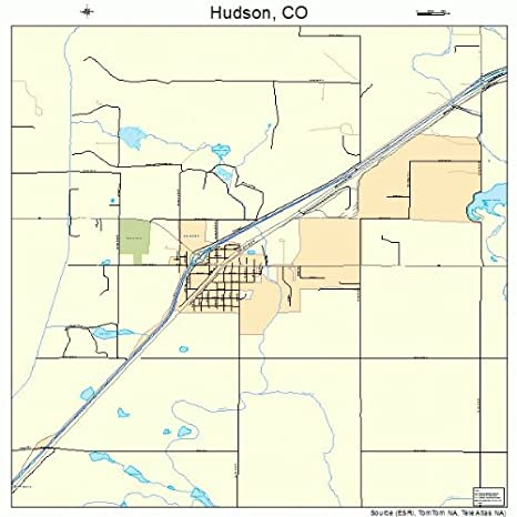 Amazon Com Large Street Road Map Of Hudson Colorado Co Printed