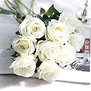 Crt Gucy Artificial Flowers Long Stem Silk Rose Flower Bouquet Wedding Party Home Decor, Pack of 6 (White) 20