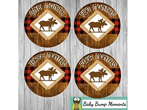 Monthly Baby Stickers - Baby Month Stickers Buffalo Plaid Moose Age Stickers