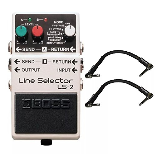 Boss LS-2 Line Selector and 2 Roland Black Series 6 inch Patch Cables