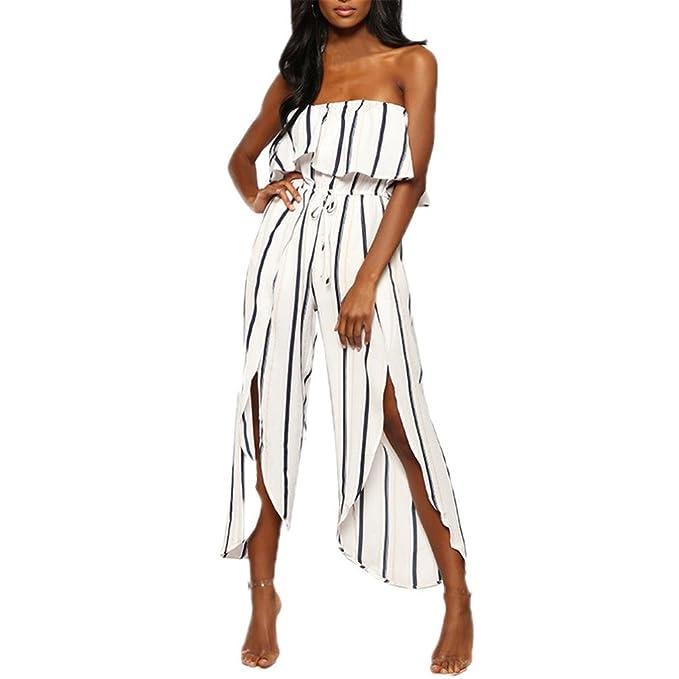 ad87113d1f Manadlian Elegant Damen Jumpsuit, Frauen Ärmellos Overall Mit Gestreift Sexy  Overall Playsuit Romper Clubkleidung Outfit