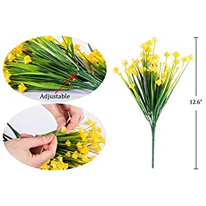 Foraineam 10 Bundles Yellow Daffodils Artificial Flowers Fake Plants Plastic Bushes Greenery Shrubs Fence Indoor Outdoor Hanging Planter Home Garden Decor 3