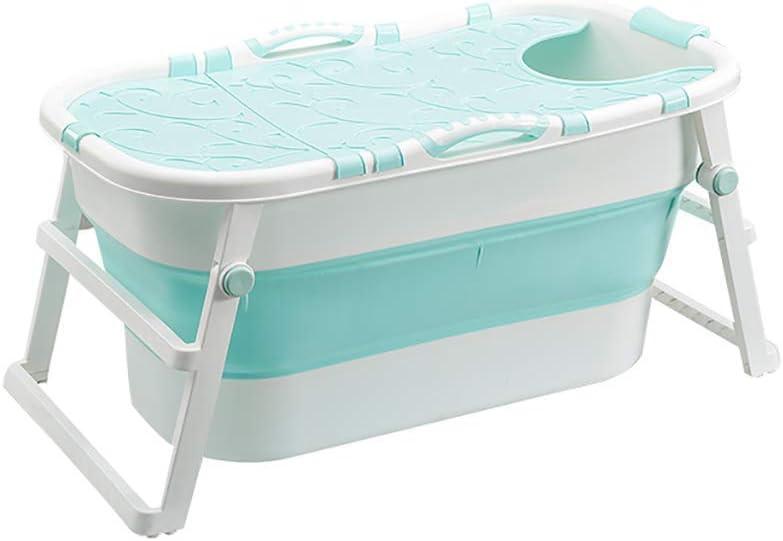 LXYFC Bañera Plegable, baño doméstico para Adultos, bañera de plástico de PVC, bañera de Verano para bebés con Tapa con bisagras, 107 * 59 * 53 cm (Color: Verde) - Cubierta Verde