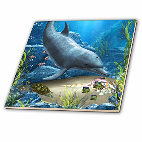 3dRose ct_172930_1 A Dolphin Swims in The Ocean with Turtle Fishes and More-Ceramic Tile, 4-Inch by 3dRose