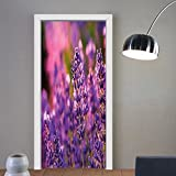 Gzhihine custom made 3d door stickers Nature Lavender Fields with Summer Near Hungary Tihany Artwork Print Light Green Purple and Violet For Room Decor 30x79
