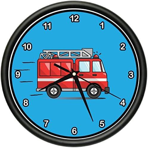 FIRE Truck Wall Clock Kids Boys Room Fireman Firefighter Theme Gift