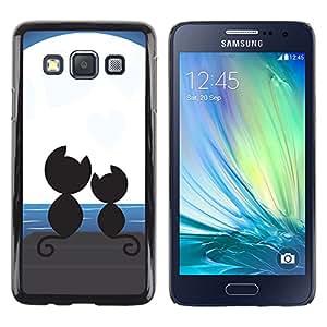 QCASE / Samsung Galaxy A3 SM-A300 / gatos les encanta pareja romántica luna de arte negro / Delgado Negro Plástico caso cubierta Shell Armor Funda Case Cover