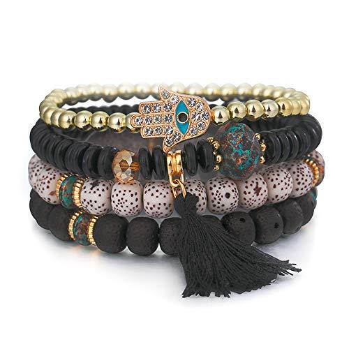 (SINOBI 4 Wrap Women Boho Bracelets Multicolor Stretch Beaded Stackable Charm Bangles Natural Gemstone Jewelry for Women Men (Eye Black))