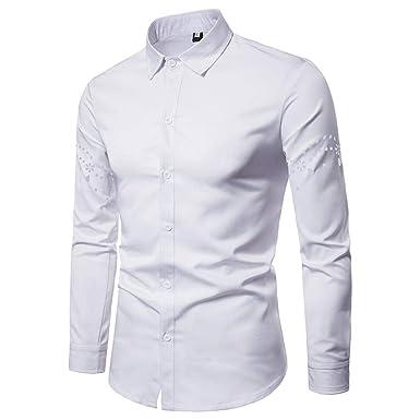 Mode Automne Hommes Chemises Casual Chemise Slim Fit à Manches Longues  Chemise Creuse Blouse ( 50e04c8b5fd6