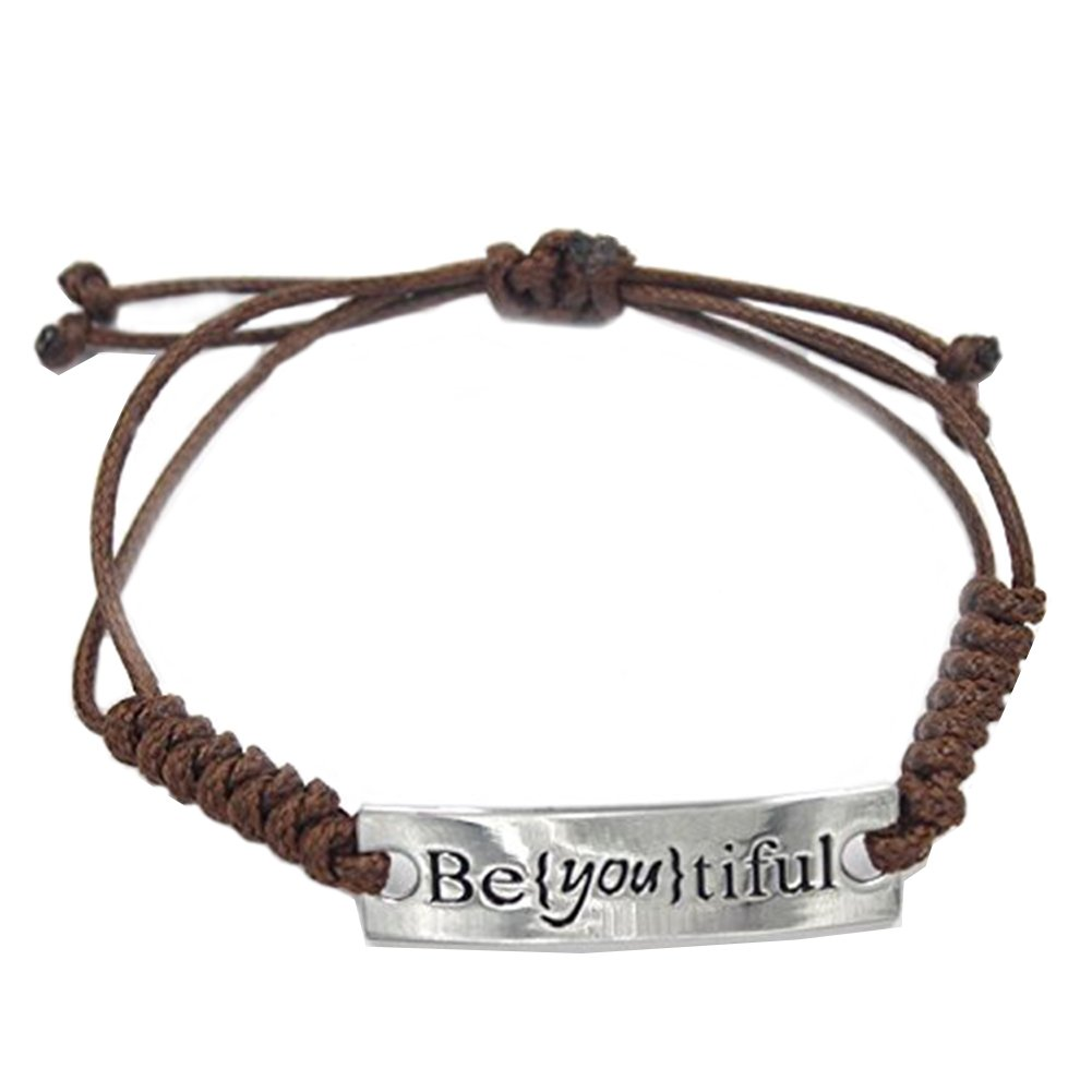 Angelus BEYOUTIFUL Powerful Message Super Shiny Engraved Inspirational Leather Braided Cord Bracelet Cuff for Girls Women Brown Ins007
