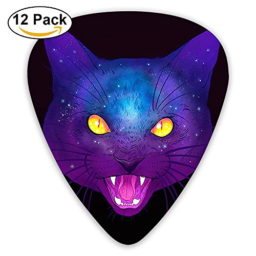 Miniisoul Cool Celluloid Guitar Picks Galactic Cats Dreamlike Series Stylish Guitar Accessories 12 Pack For Acoustic, Electric, Original And Bass Guitars