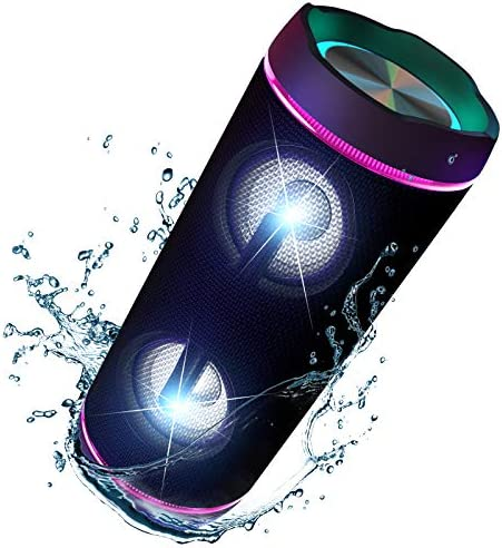VOKSUN Portable Bluetooth Speakers with Colorful Lights, 40W IP67 Waterproof 360°Stereo Sound Enhanced Bass Wireless Bluetooth 5.0 Speaker TWS Aux Built-in Mic for Home Party Outdoor Travel Camping