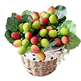 JAROWN Artificial Mulberry Fruits Silk Strawberry Leaves Fake Bouquets for Kitchen Blacony Decor Pack of 3(Green)