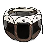 BIG WING Pet Play Pen Portable Foldable Puppy Dog Pet Cat Rabbit Guinea Pig Fabric Playpen Crate Cage Kennel Tent White Size-L