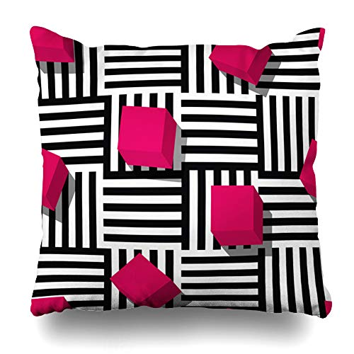 Ahawoso Throw Pillow Cover Bright Creative Geometric Pattern Flat Pink Cube Style Black White Striped for Abstract 80S Funky Zippered Pillowcase Square Size 18 x 18 Inches Home Decor Cushion Case