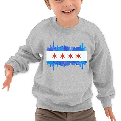 Puppylol Chicago Flag Watercolor Kids Classic Crew-Neck Pullover Hoodie Ash 2 Toddler