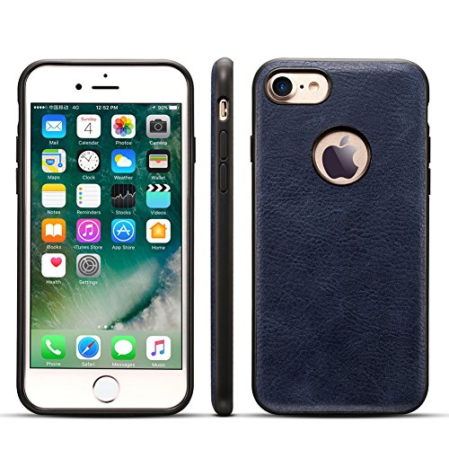 Anyos iPhone 6/6s/7 Retro Crazy Horse Pattern PU Leather Case Back Cover for iPhone 6/6s/7 4.7'' (iPhone 7, Dark Blue)