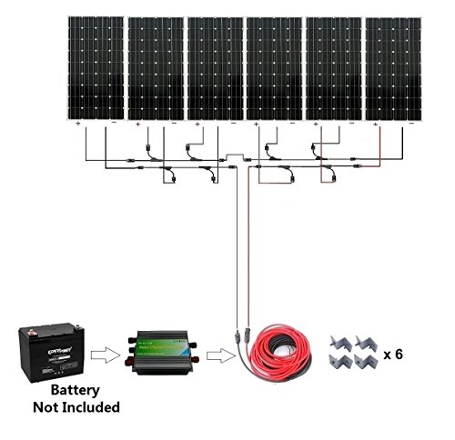1000W-1kw-Monocrystalline-24v-Off-Grid-Solar-Panel-Kit-6pcs-160W-Mono-Solar-Panels45A-Charge-ControllerSolar-CableMC4-Branch-Connectors-Pair-Z-Brackets-Mounting