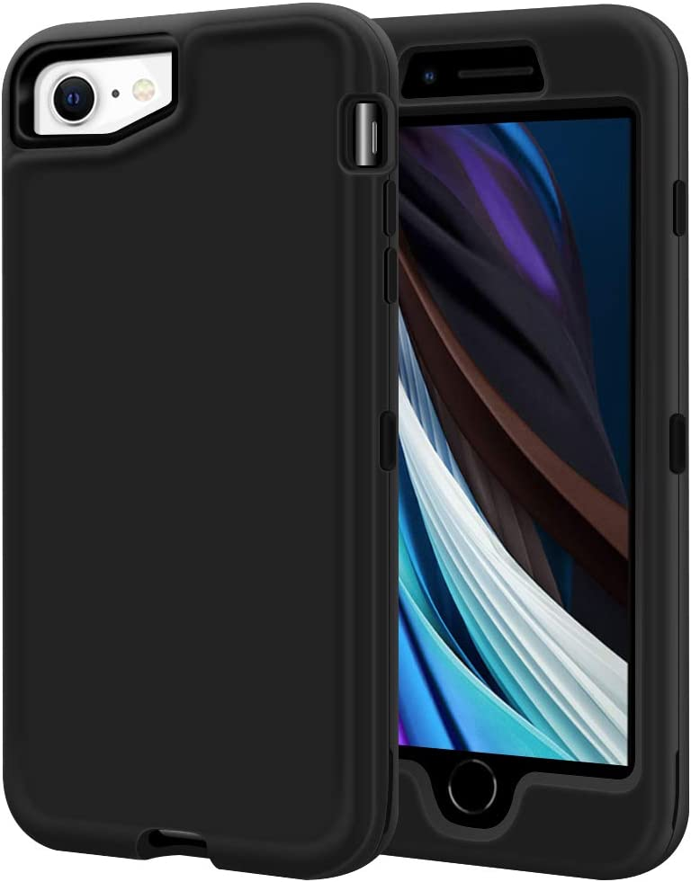 """LOEV iPhone SE 2020 Case, iPhone 8 Case, Full Body Heavy Duty Shockproof Defender Case Hybrid Protective Hard Shell & Soft TPU Bumper Rugged Cover for Apple iPhone 7/8/SE 2nd Gen 4.7"""", Black"""