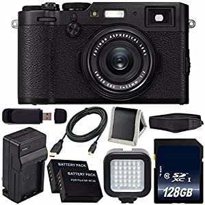 Fujifilm X100F Digital Camera (Black) International Model 16534651 + NPW-126 Replacement Lithium Ion Battery + External Rapid Charger + 128GB SDXC Class 10 Memory Card + Micro HDMI Cable Bundle