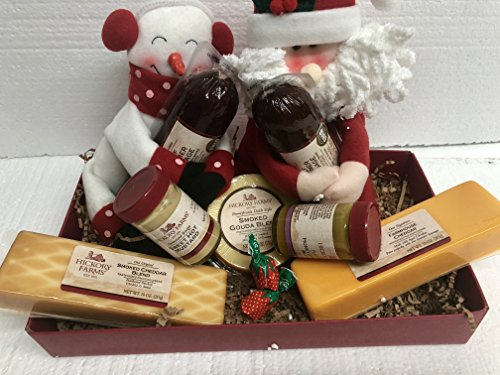Hickory Farms Home For the Holidays Gift Box With Holiday Theme Wine Covers - Wine Smoked Gouda