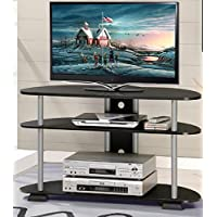Tv Stand Entertainment Media Center 3-Tier Console Table Turn-N-Tube Holds 42 in. TV Stand Furniture In Black/Grey