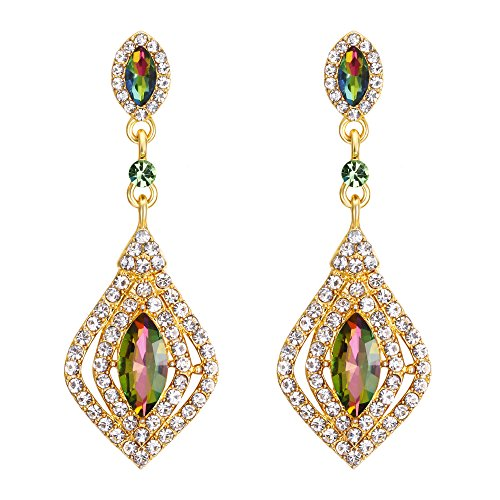 Marquise Crystal Gold Earrings - BriLove Women's Wedding Bridal Dangle Earrings with Crystal Marquise-Shape Chandelier Vitrail Medium Gold-Toned