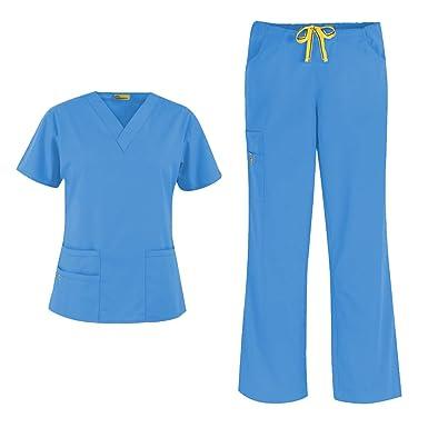 a6ecf724aea WonderWink Origins Women's 6016 Bravo Top & Romeo Pant 5026 Medical Uniform Scrub  Set (Malibu