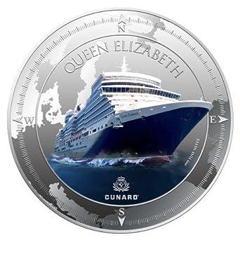 Queen Elizabeth 1 Oz Silver Proof Coin Pitcairn Islands 2013 $2 Cunard Lines