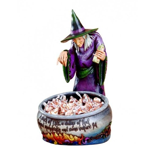 (Jim Shore Halloween Witch With Cauldron Candy Dish )