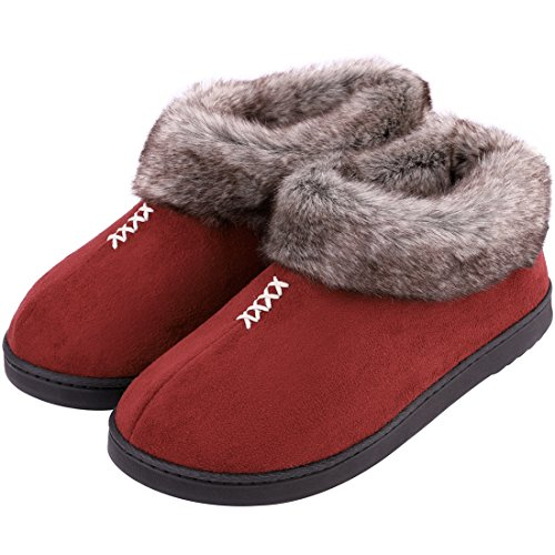 Women's Cozy Memory Foam Slippers Fluffy Micro Suede Faux Fur Fleece Lined House Shoes with Non Skid Indoor Outdoor Sole (Large / 9 B(M) US, Burgundy)