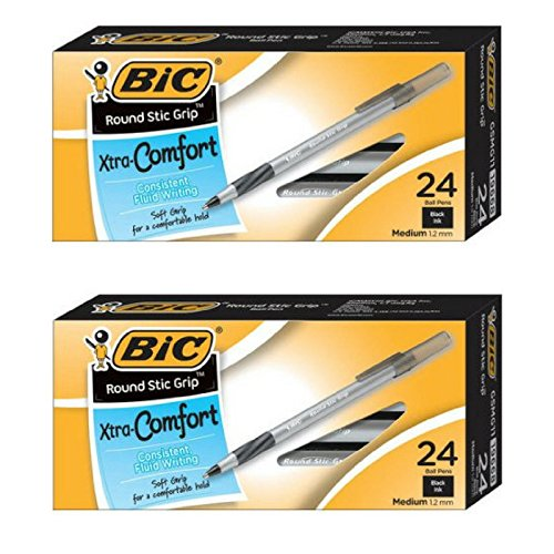 BIC Round Stic Grip Xtra Comfort Ball Pen, Medium Point (1.2 mm), Black Ink, 24-Count - 2 Pack