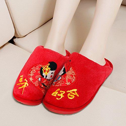 chaussures femme remorquage des d'été couples Chaussures broderie de chaussons de Mariage d'hiver maison mari coton en mariage mariage produits vqxp18w4U