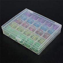 SODIAL(R) Ideal 25 Empty Bobbins Sewing Machine Spools Colorful Plastic Case Storage