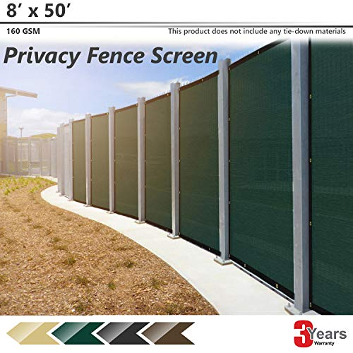 BOUYA 8ft x 50ft Green Heavy Duty for Chain-Link Fence Privacy Screen Commercial Outdoor Shade Windscreen Mesh Fabric with Brass Gromment 160 GSM 88% Blockage UV-3 Years Warranty, 8' x 50',