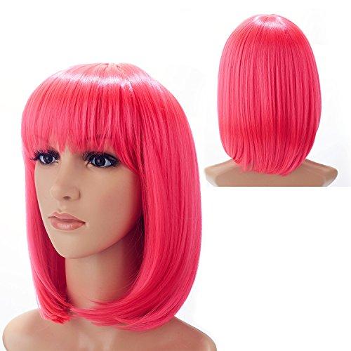 H&N Hair Short Pink Bob Wigs for Women 13