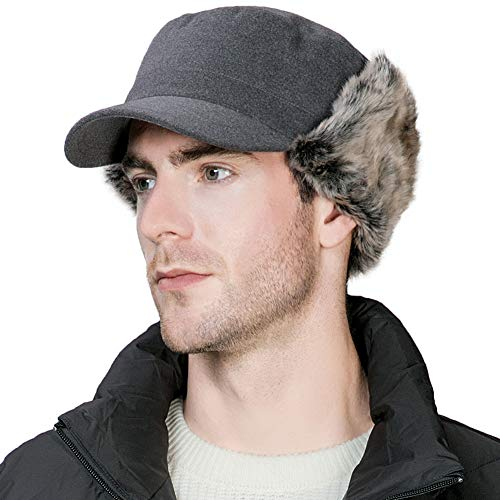 (Winter Trapper Hat for Men Baseball Cap with Earflap Army Military Elmer Fudd Hat Fur Hunting Snow Cold Weather Women Grey)