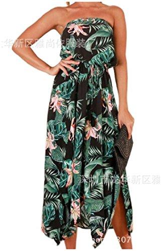Coolred-femmes Beachwear Torse Enroulez D'impression Robes D'été Taille Élastique Noir