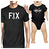 365 Printing Fix And Break Black Funny Design Dad and Baby Boy Matching Outfits
