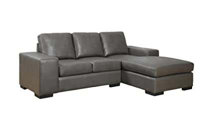 Monarch Specialties Bonded Leather/Match Sofa Lounger, 37-Inch, Charcoal Grey