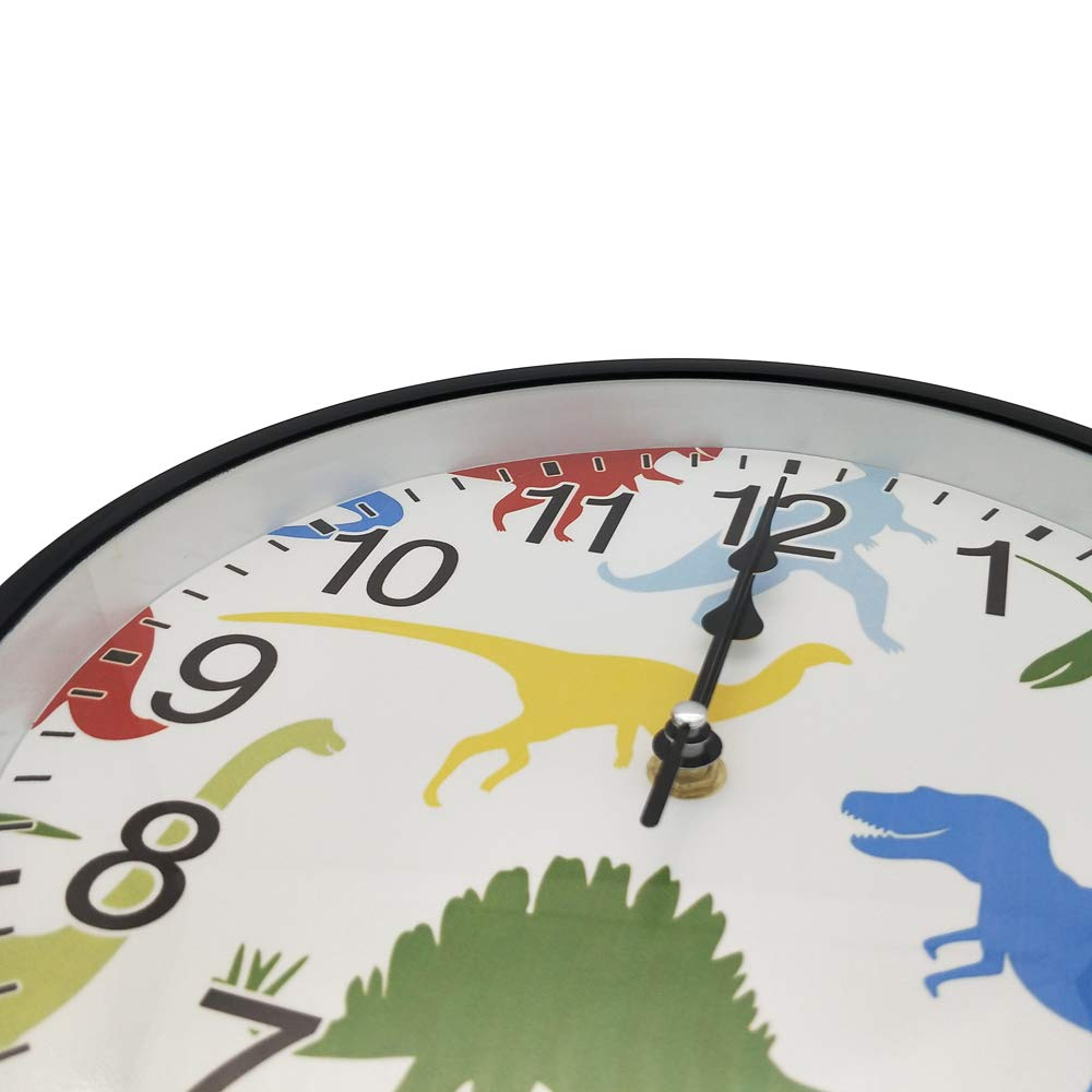 LI-LOVE Beautiful Classic Glass Cover Plastic Frame Battery Operated Arabic Number Colorful Dinosaur Animals Home/School/Office Non Ticking Silent Quartz Large Round Wall Clock Diameter 10 Inch