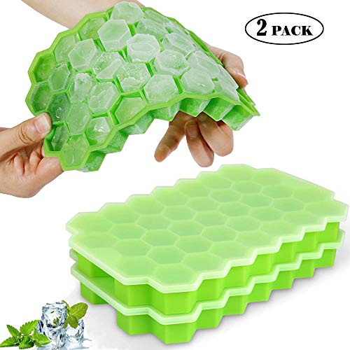 Ice Cube Trays, Sooyee 2 Pack Silicone Small Ice Cube Molds with Lid Flexible 74-Ice Trays, for Whiskey, Cocktail, Stackable Flexible Safe Ice Cube Molds