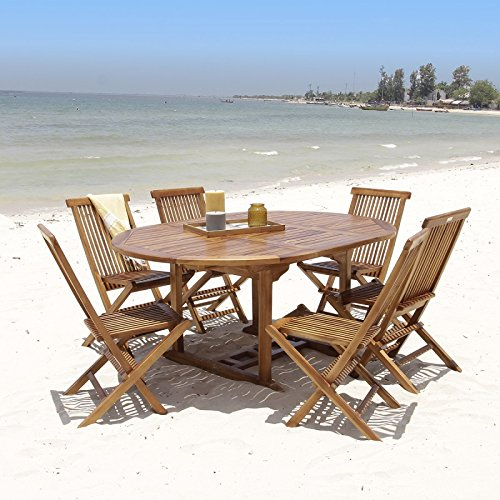 Salon de jardin en bois de teck huilé 6/8 personnes - Table ronde ...