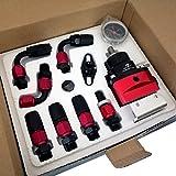 SYM TOP Adjustable Fuel Pressure Regulator AN6 Hose End Fittings Oil Line And Gauge Kit - Red and Black