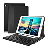 iPad Pro 10.5 Keyboard Case, Detachable Wireless Bluetooth Keyboard, Premium iPad Keyboard Case with Pencil Holder for iPad Air 3rd Gen 10.5 inch 2019 /iPad Pro 10.5 inch 2017- Black Stitching